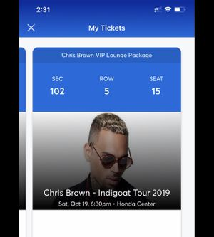 Chris Brown VIP tickets (Honda Center) Oct 19 for Sale in Anaheim, CA