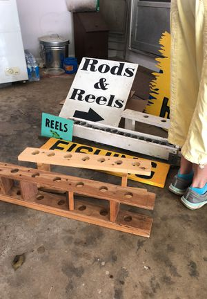 Fishing flea market signs and rod holders for Sale in Cumming, GA