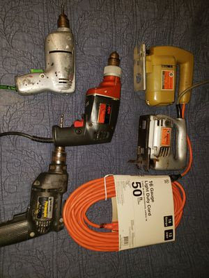 2 jig saws, 3 corded drills and a brand new 50 foot extension cord. for Sale in Luther, OK
