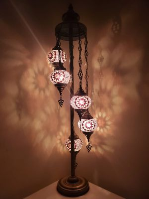 5 Globe Moroccan Turkish Mosaic Floor Lamp for Sale in Clifton, NJ