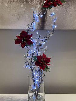 Silk Flowers Glass Vase Led Lights for Sale in Reston,  VA