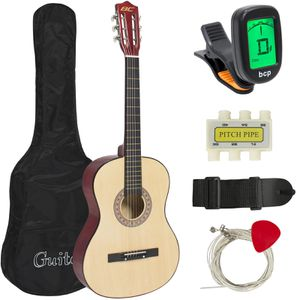 38in Beginner Acoustic Guitar Starter Kit w/ Case, Strap, Tuner, Pick, Strings - Natural for Sale in Dublin, OH