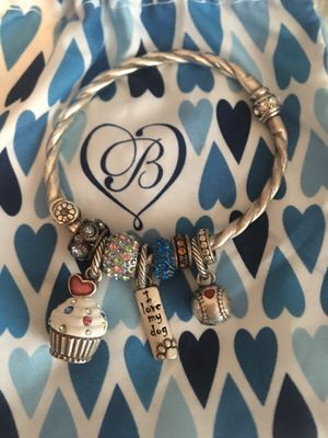 BRIGHTON STORE CHARM BRACELET WITH 3 CHARMS CELEBRATE CUPCAKE AND I ❤️ MY DOG AND A BASEBALL RED ❤️ AND 5 COLORFUL SPACERS WITH 2 BAGS EXCELLENT COND for Sale in Las Vegas, NV