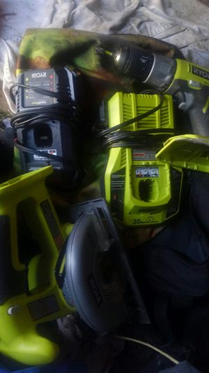 Ryobi saw and hammer drill with 2 chargers no batteries for Sale in Fowler, CA