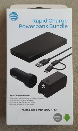 Fast Car charger, Home charger and 10,000 mA Power Bank. Fits newer Android phones and Tablets with Type-C cable (and also fits older Micro USB) for Sale in Corona, CA