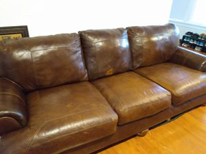 Leather Brown Couch FOR SALE for Sale in St. Petersburg, FL