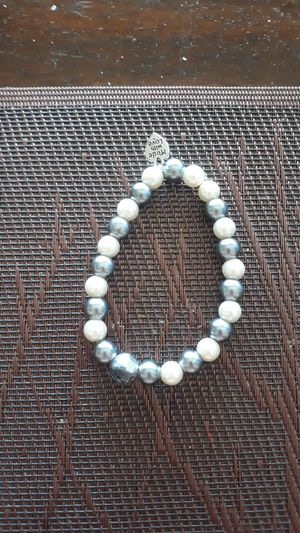 "Handcrafted Hildie & Jo. Faux Pearl's glass bracelet with a charm ""made with love"" for Sale in Montclair, CA"