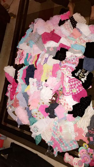 Over 100 pieces of clothing 3-6 months and a few 6-9 and a few car seat toys for Sale in Bastrop, TX