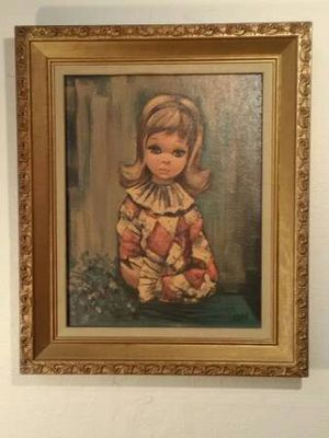 '60s Renowned Artist! Big Eyed Girl Framed Gild Gold 18x15 for Sale in Oklahoma City, OK