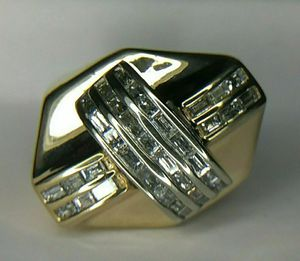 Large 1.50 Carat Natural Diamond 14K Yellow Gold Men's Channel Cluster Ring for Sale in Brooklyn, NY