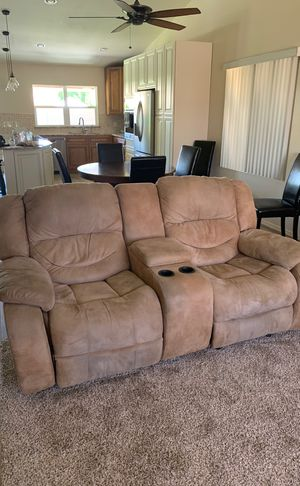 Couch and love seat with cups and storage area; 4 recliners in all. for Sale in Apache Junction, AZ