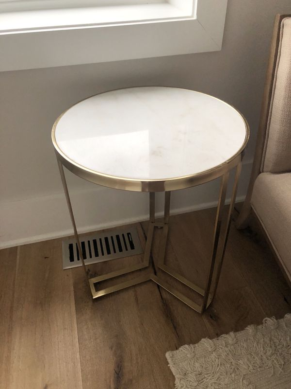 Gold and Marble End Table