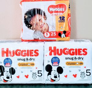 (3) Huggies Snug & Dry Diapers Size 5 (Total 75 Counts) - $16 For All FIRM for Sale in Tustin, CA