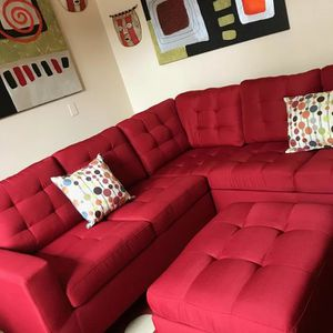 Brand New Red Linen Sectional Sofa Couch + Ottoman for Sale in Chevy Chase, MD