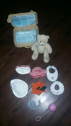 American Girl Doll Bitty Bear With Accessories and Miniature Ag Wicker Basket Vintage Set!! for Sale in Costa Mesa, CA