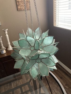 Turquoise Stained Glass Flower Hanging Candle Holder for Sale in Santee, CA