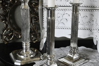 3 Vintage Metal Silver Plate Column Taper Candlestick Holders, Midcentury Candle Holders for Sale in Riverside,  CA