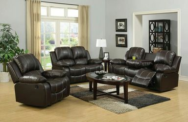 3pc brown or black leather reclining sofa set w/cup holders for Sale in Marietta,  GA