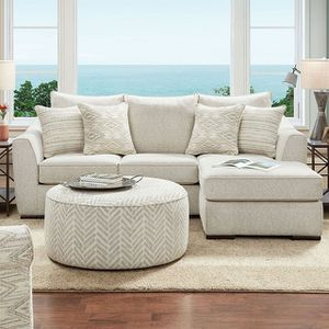 CASUAL MODERN IVORY CHENILLE FABRIC SECTIONAL SOFA CHAISE / SILLON SECCIONAL for Sale in Downey, CA