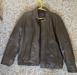 Perfect Italian Alfani soft brown leather men's medium jacket coat for Sale in Fort Lauderdale, FL