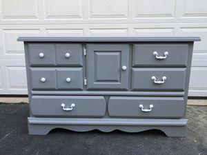 Kathy Ireland Long Dresser Gray With White Handles for Sale in Woodbridge, VA