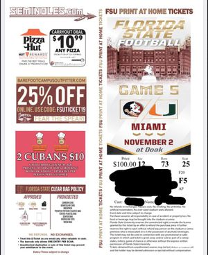FSU vs UM Game for Sale in Tallahassee, FL