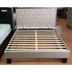 Queen Ivory Fabric Bed Frame for Sale in Chula Vista,  CA