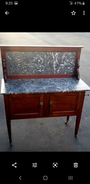 Antique Mahogany Wash Stand with Marble top & backsplash. for Sale in Burbank, CA