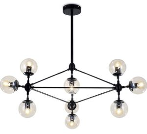 Lampundit DNA Chandelier Lighting 10 Light Chandelier Nordic Modern Magic Bean Chandelier with Globe Glass Shade, Industrial Pendant Light Fixture fo for Sale in Walnut, CA