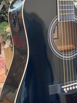black fever electirc acoustic guitar with metal strings for Sale in Downey,  CA