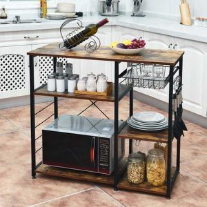 Industrial Kitchen Baker's Rack Microwave Stand Utility Storage Shelf w/ 6 Hooks for Sale in Hacienda Heights, CA