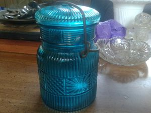 Vintage Blue Canning Jar Made by Avon for Sale in Riverview, FL