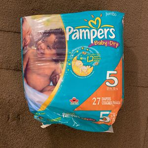 Pampers Baby Dry Diapers #27 For 5 for Sale in Wayland, MA