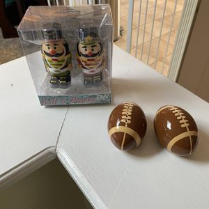 Christmas Nutcracker And Football Salt And Pepper Shakers for Sale in Lacey Township, NJ
