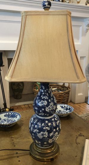 Antique Chinese Blue and White Prunus Double Gourd Vase Table Lamp for Sale in Miami, FL
