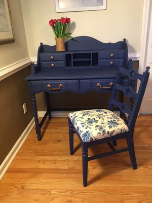 Oh so CUTE Painted desk and chair for Sale in Virginia Beach, VA