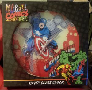 Marvel Comics Captain America Glass Clock13.75 for Sale in Baltimore, MD