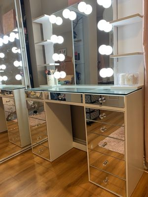 New Makeup Vanity dresser with mirror and shelves Slay Station Not Impressions for Sale in Perris, CA