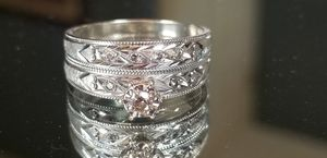 Stunning Vintage 14K white gold custom diamond wedding set rings size 8 for Sale in Lake Stevens, WA