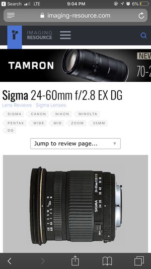 Sigma 2.8 aperture zoom lens for canon ( can be adapted to other cameras ) for Sale in Columbus, OH