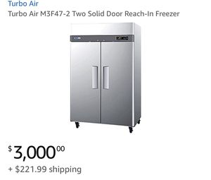 Turbo Air - M3F47-2 Two Solid Door Reach-In Freezer for Sale in MONTGOMRY VLG, MD