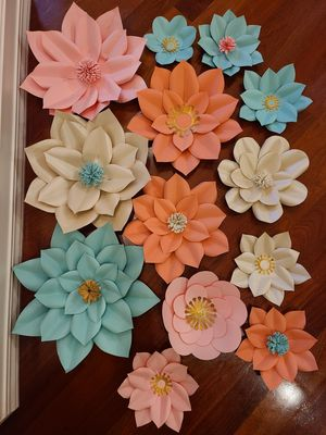 Paper flowers for parties backdrops kids room feature wall home decor for Sale in Bothell, WA