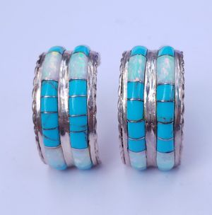 Zuni sterling silver hoop earrings inlaid opal turquoise for Sale in Denver, CO