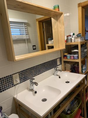 Double sink, mirror, shelf for Sale in Pittsburgh, PA