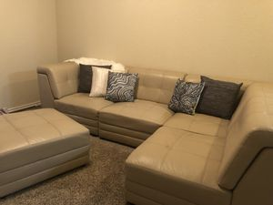 Sectional sofa. Could be put different ways. Has a peeling that could be covered with a blanket throw or a fur (as listed). Price negotiable for Sale in San Antonio, TX