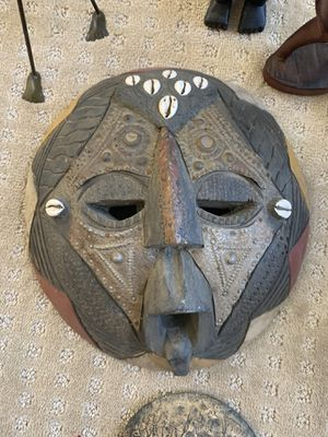 African mask, wooden decor, and metal candle holders for Sale in San Diego, CA