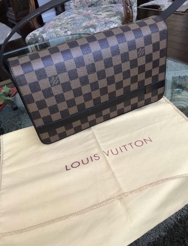 83b9e1d844b6 Louis Vuitton Tribeca Damier Ebene Long Hand Checkered Brown Leather ...