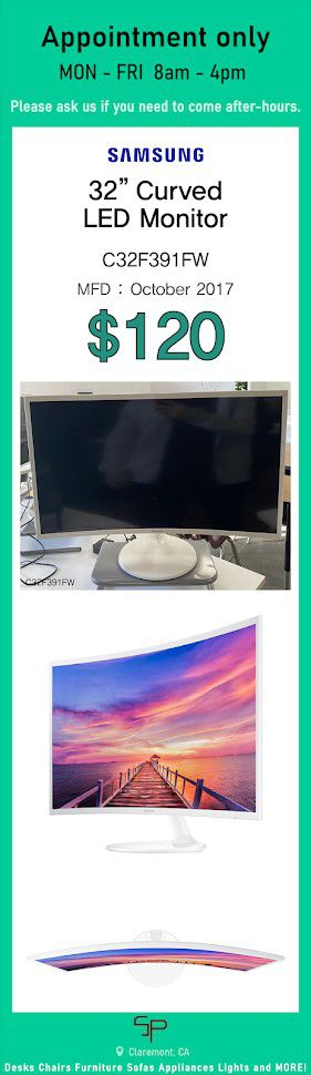 "Curved LED Monitor 32"" CF391 White for Sale in Claremont, CA"