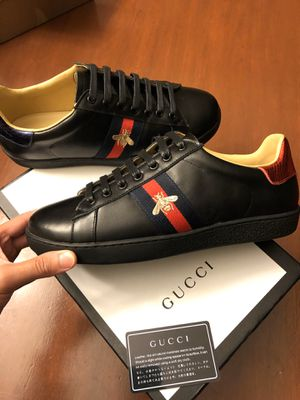 Men leather Black Gucci Sneakers Sz 41 ( 8/8.5US ) New with box + cards ! Serious buyers only ! No trades ! Excellent!! Ready to go! for Sale in Silver Spring, MD
