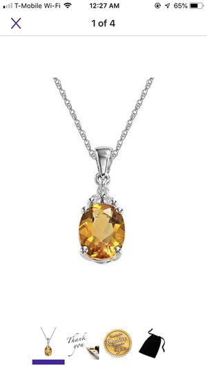 Genuine citrine stone necklace, sterling silver for Sale in Falls Church, VA